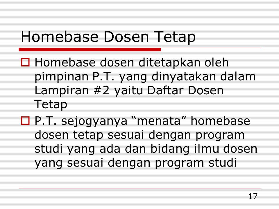 17 Homebase Dosen Tetap  Homebase dosen ditetapkan oleh pimpinan P.T.