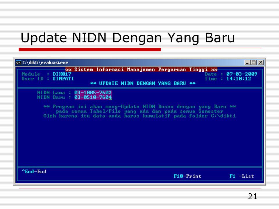 21 Update NIDN Dengan Yang Baru