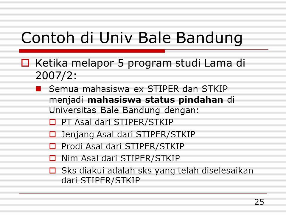 25 Contoh di Univ Bale Bandung  Ketika melapor 5 program studi Lama di 2007/2:  Semua mahasiswa ex STIPER dan STKIP menjadi mahasiswa status pindahan di Universitas Bale Bandung dengan:  PT Asal dari STIPER/STKIP  Jenjang Asal dari STIPER/STKIP  Prodi Asal dari STIPER/STKIP  Nim Asal dari STIPER/STKIP  Sks diakui adalah sks yang telah diselesaikan dari STIPER/STKIP