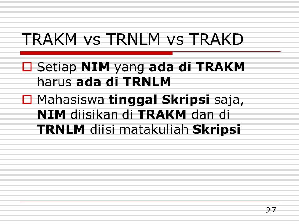 27 TRAKM vs TRNLM vs TRAKD  Setiap NIM yang ada di TRAKM harus ada di TRNLM  Mahasiswa tinggal Skripsi saja, NIM diisikan di TRAKM dan di TRNLM diisi matakuliah Skripsi