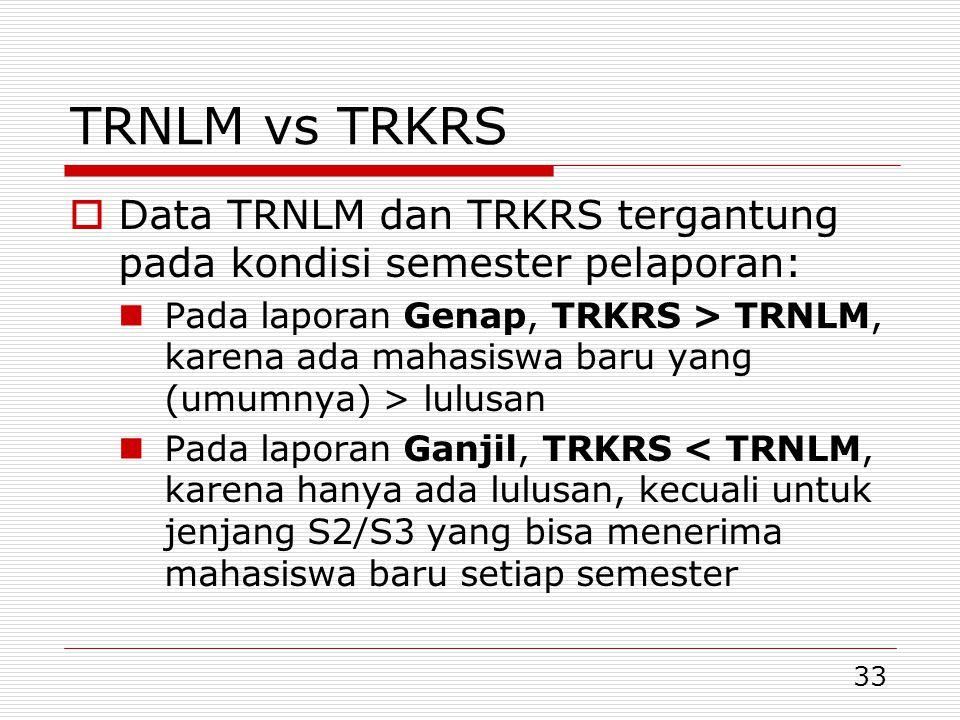 33 TRNLM vs TRKRS  Data TRNLM dan TRKRS tergantung pada kondisi semester pelaporan:  Pada laporan Genap, TRKRS > TRNLM, karena ada mahasiswa baru yang (umumnya) > lulusan  Pada laporan Ganjil, TRKRS < TRNLM, karena hanya ada lulusan, kecuali untuk jenjang S2/S3 yang bisa menerima mahasiswa baru setiap semester