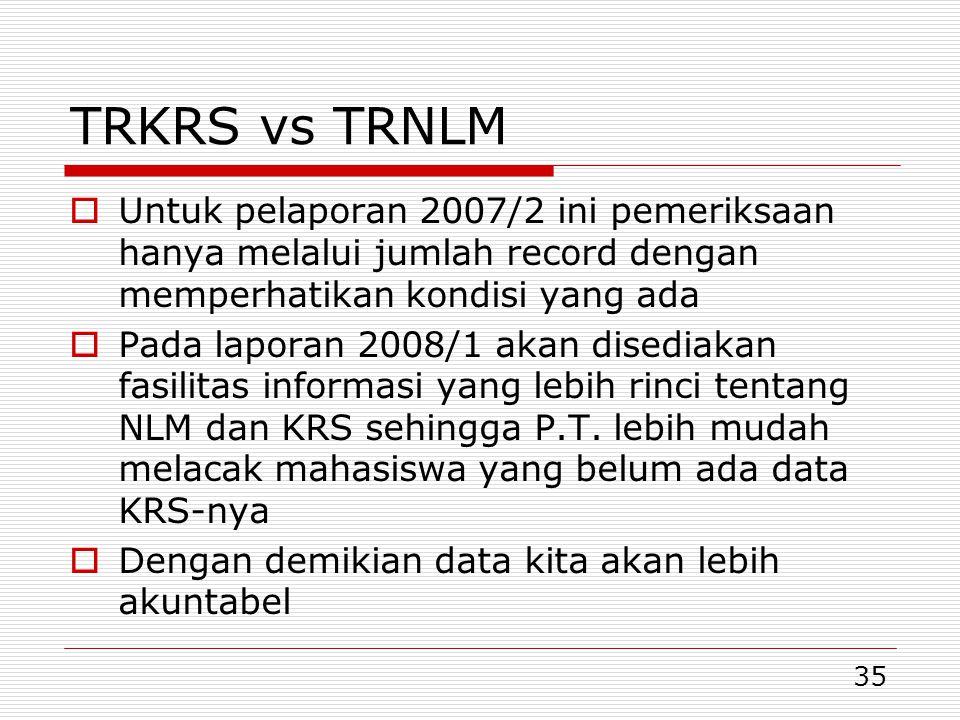35 TRKRS vs TRNLM  Untuk pelaporan 2007/2 ini pemeriksaan hanya melalui jumlah record dengan memperhatikan kondisi yang ada  Pada laporan 2008/1 akan disediakan fasilitas informasi yang lebih rinci tentang NLM dan KRS sehingga P.T.