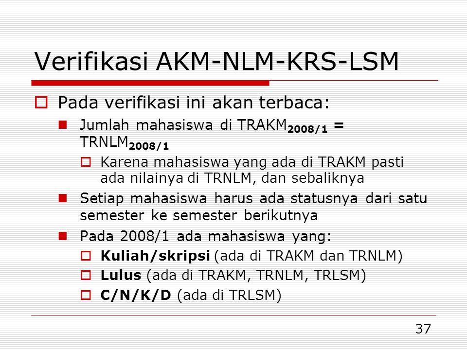 37 Verifikasi AKM-NLM-KRS-LSM  Pada verifikasi ini akan terbaca:  Jumlah mahasiswa di TRAKM 2008/1 = TRNLM 2008/1  Karena mahasiswa yang ada di TRAKM pasti ada nilainya di TRNLM, dan sebaliknya  Setiap mahasiswa harus ada statusnya dari satu semester ke semester berikutnya  Pada 2008/1 ada mahasiswa yang:  Kuliah/skripsi (ada di TRAKM dan TRNLM)  Lulus (ada di TRAKM, TRNLM, TRLSM)  C/N/K/D (ada di TRLSM)