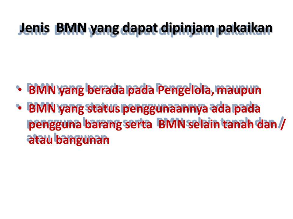 Jenis BMN yang dapat dipinjam pakaikan • BMN yang berada pada Pengelola, maupun • BMN yang status penggunaannya ada pada pengguna barang serta BMN sel