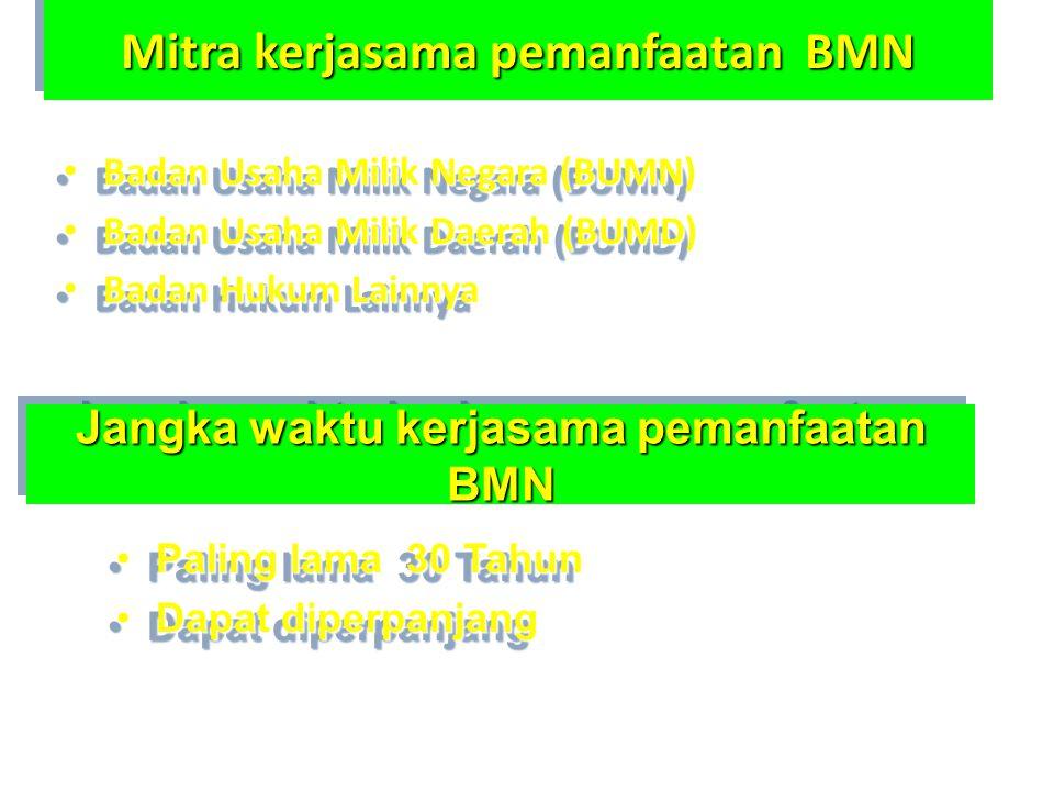 Mitra kerjasama pemanfaatan BMN • Badan Usaha Milik Negara (BUMN) • Badan Usaha Milik Daerah (BUMD) • Badan Hukum Lainnya • Badan Usaha Milik Negara (