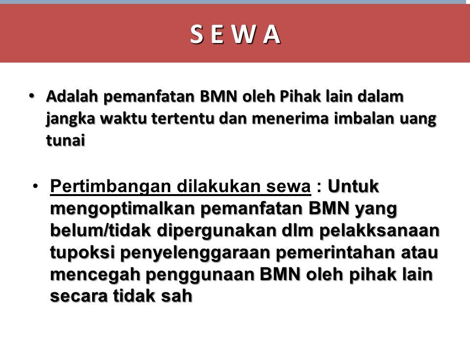 S E W A • Adalah pemanfatan BMN oleh Pihak lain dalam jangka waktu tertentu dan menerima imbalan uang tunai •Pertimbangan dilakukan sewa : Untuk mengo