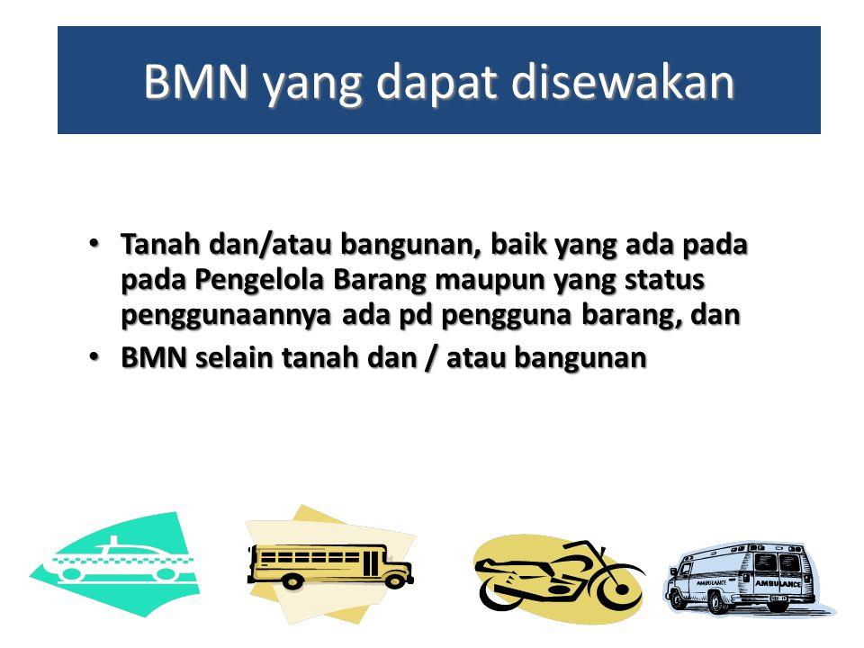 BMN yang dapat disewakan • Tanah dan/atau bangunan, baik yang ada pada pada Pengelola Barang maupun yang status penggunaannya ada pd pengguna barang,