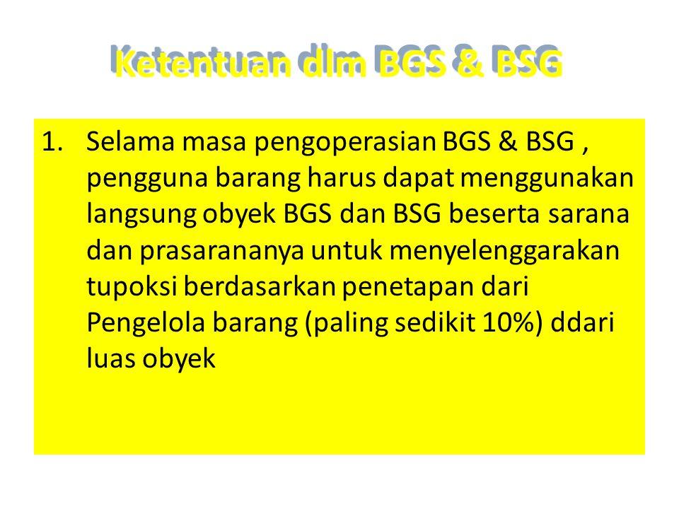 Ketentuan dlm BGS & BSG 1.Selama masa pengoperasian BGS & BSG, pengguna barang harus dapat menggunakan langsung obyek BGS dan BSG beserta sarana dan p