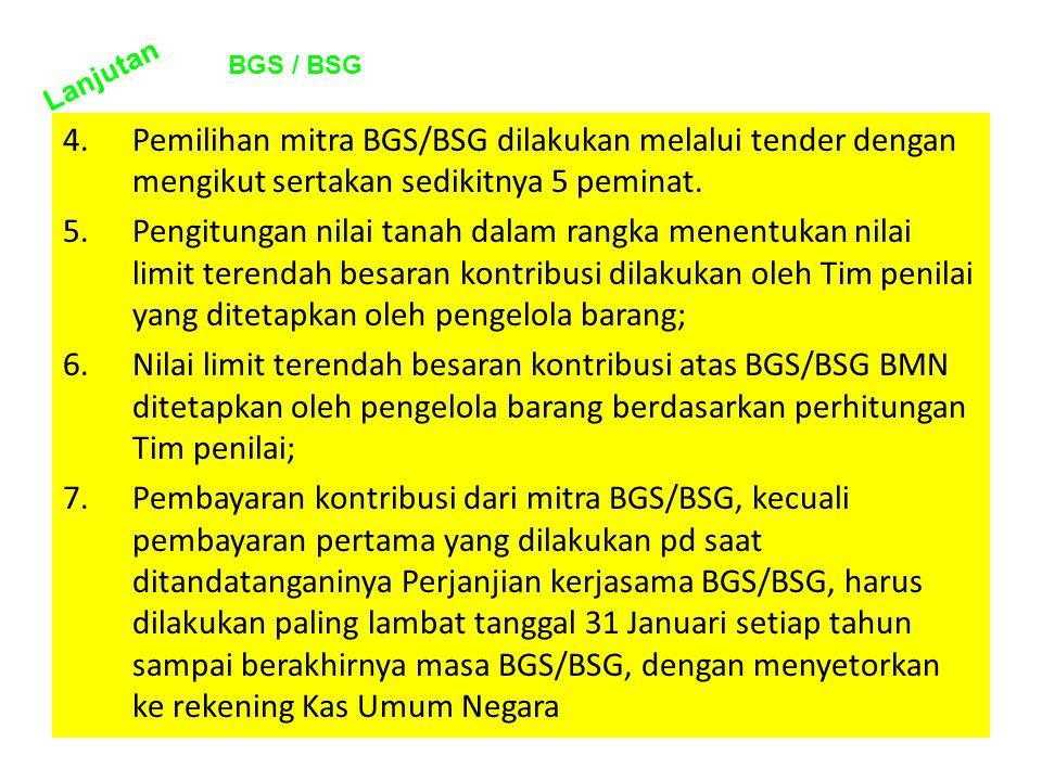 4.Pemilihan mitra BGS/BSG dilakukan melalui tender dengan mengikut sertakan sedikitnya 5 peminat. 5.Pengitungan nilai tanah dalam rangka menentukan ni