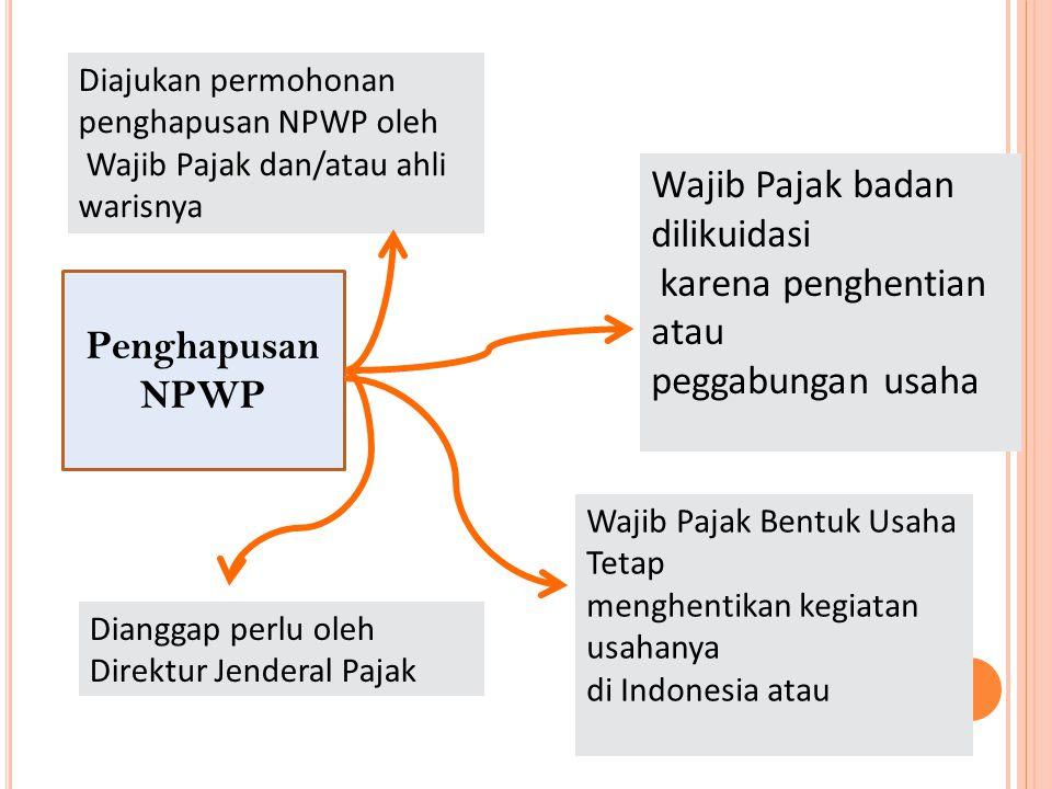 Penghapusan NPWP Diajukan permohonan penghapusan NPWP oleh Wajib Pajak dan/atau ahli warisnya Wajib Pajak badan dilikuidasi karena penghentian atau pe