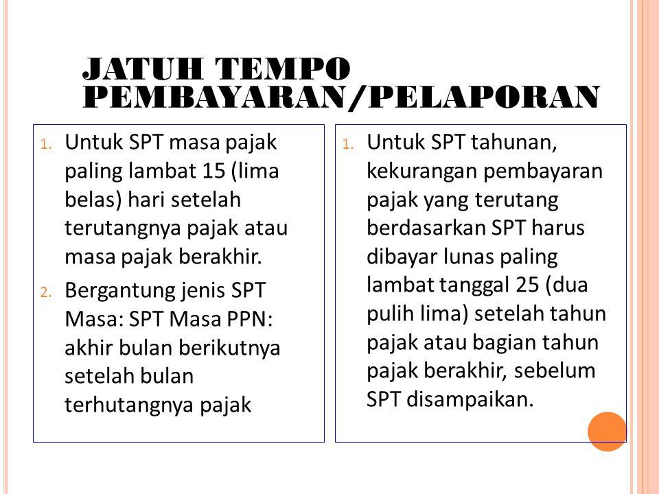 JATUH TEMPO PEMBAYARAN/PELAPORAN 1. Untuk SPT masa pajak paling lambat 15 (lima belas) hari setelah terutangnya pajak atau masa pajak berakhir. 2. Ber