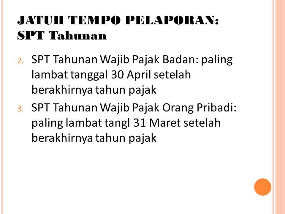 JATUH TEMPO PELAPORAN: SPT Tahunan 2. SPT Tahunan Wajib Pajak Badan: paling lambat tanggal 30 April setelah berakhirnya tahun pajak 3. SPT Tahunan Waj
