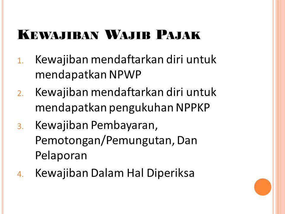 K EWAJIBAN W AJIB P AJAK 1. Kewajiban mendaftarkan diri untuk mendapatkan NPWP 2. Kewajiban mendaftarkan diri untuk mendapatkan pengukuhan NPPKP 3. Ke