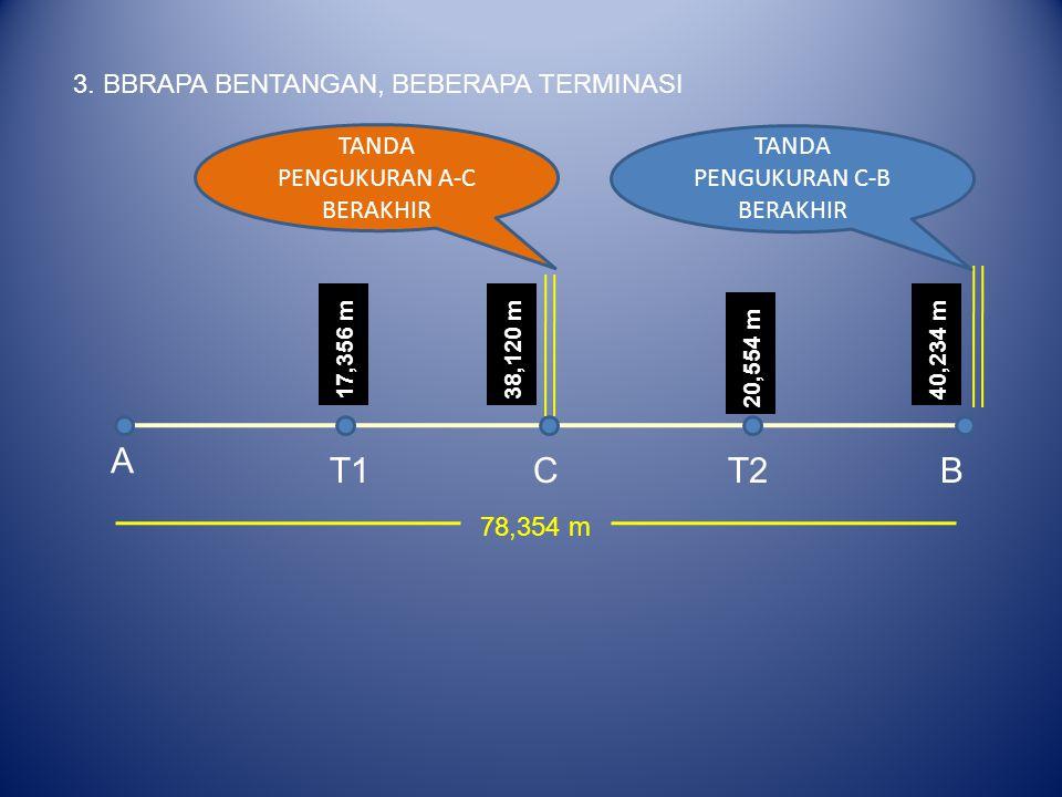 3. BBRAPA BENTANGAN, BEBERAPA TERMINASI A BT1CT2 17,356 m38,120 m 20,554 m 40,234 m TANDA PENGUKURAN C-B BERAKHIR TANDA PENGUKURAN A-C BERAKHIR 78,354