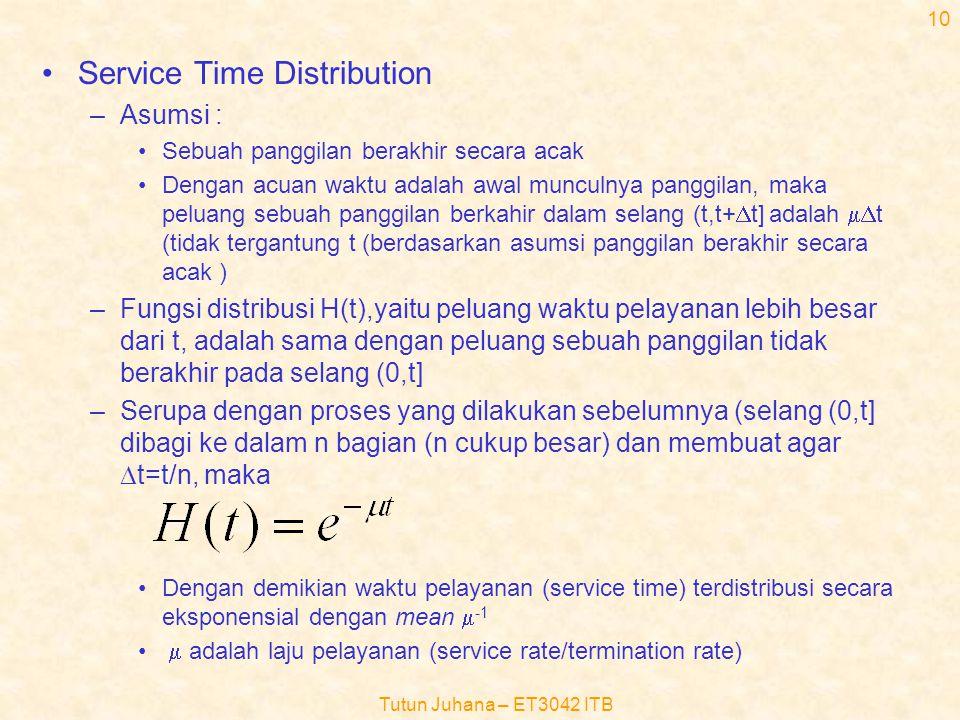 Tutun Juhana – ET3042 ITB 9 •Random origination (3) –Peluang tidak ada panggilan yang muncul (k=0) dalam selang (0,t] adalah : –Maka interarrival time distribution function (peluang bahwa selang waktu antar kedatangan tidak lebih besar dari t) adalah : –Ini merupakan distribusi eksponensial dengan mean  -1 –distribusi selang waktu kedatangan eksponensial merupakan sifat lain dari random origination