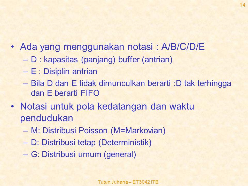 Tutun Juhana – ET3042 ITB 13 •Untuk mengklasifikasikan sistem (full availability system), digunakan notasi Kendall •Notasi D.G. Kendall: A/B/C –A: pol