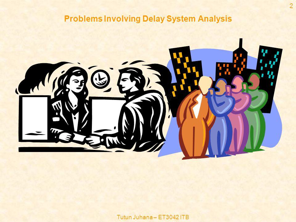 Tutun Juhana – ET3042 ITB 32 Sistem Antrian M/M/1 (6) •Beberapa paramater hasil analisa sistem M/M/1 : –Jumlah rata-rata panggilan di dalam sistem, E(k): –Waktu tunggu rata-rata, E[w]: –Delay rata-rata yang dialami oleh panggilan=waktu tunggu rata-rata ditambah waktu pelayanan rata-rata = E[d] : –Jadi jumlah rata-rata pelanggan di dalam sistem, E[k], dapat juga dihitung sbb : E[k]=  E[d]=  (Ingat hukum Little) –Utilisasi server, ,didefinisikan sebagai peluang server sibuk (k  0), yaitu :