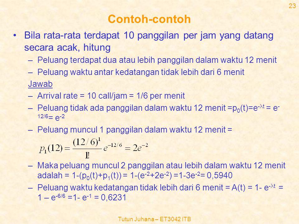 Tutun Juhana – ET3042 ITB 22 Rumus J.D.Little (6) •Catatan untuk rumus J.D Little –Distribusi kedatangan dan waktu pelayanan adalah sembarang –Jumlah pelayan adalah sembarang –Dapat diterapkan hanya terhadap yang antri atau yang dalam pelayanan saja atau kedua-duanya •Lq= .Wq –Lq=harga rata-rata jumlah pelanggan di dalam antrian –Wq=harga rata-rata waktu tunggu di dalam antrian •Lp= .Wp –Lp=harga rata-rata jumlah pelanggan di dalam pelayanan –Wq=harga rata-rata waktu lamanya pelanggan dalam pelayanan