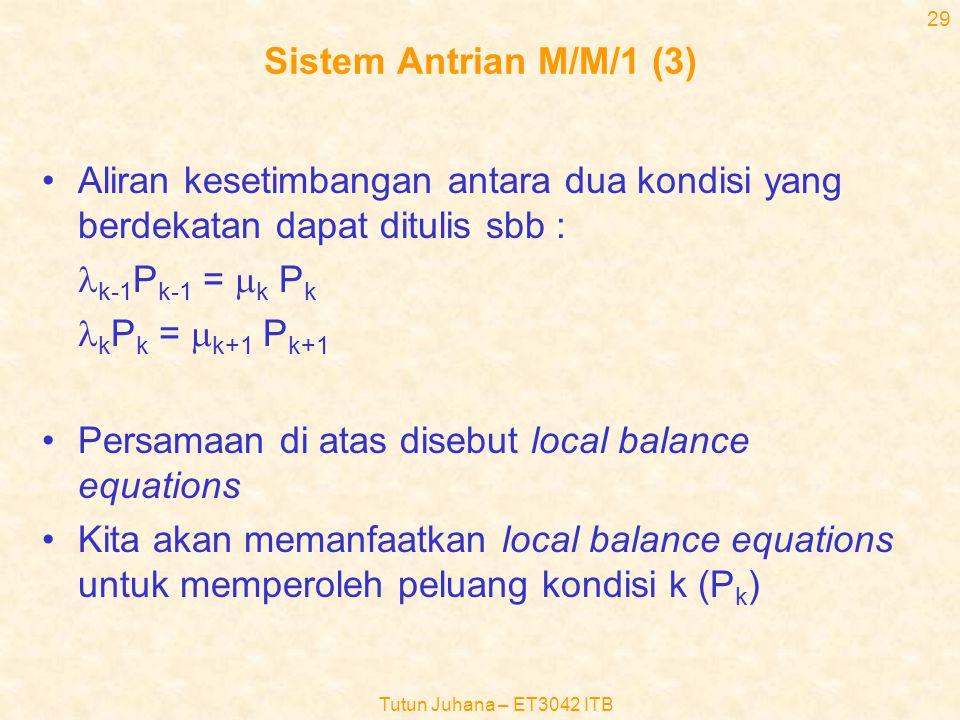 Tutun Juhana – ET3042 ITB 28 Sistem Antrian M/M/1 (2) •Dalam kondisi stabil, persamaan transisi kondisi dinyatakan oleh hukum konservasi dari aliran p