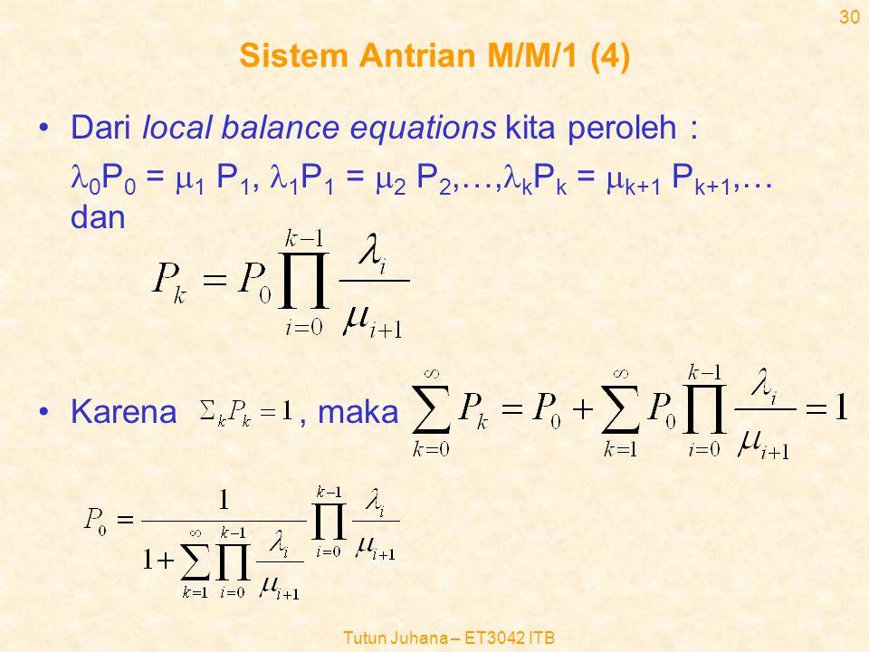 Tutun Juhana – ET3042 ITB 29 Sistem Antrian M/M/1 (3) •Aliran kesetimbangan antara dua kondisi yang berdekatan dapat ditulis sbb :  k-1 P k-1 =  k P