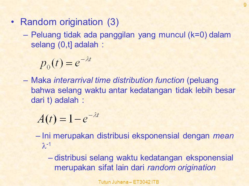 Tutun Juhana – ET3042 ITB 19 Rumus J.D.Little (3) –  (t): Jumlah kedatangan ke dalam sistem di dalam selang waktu (0,t) (fungsi jumlah kedatangan terhadap waktu) –  (t): Jumlah kedatangan yang berakhir/meninggalkan sistem di dalam selang waktu (0,t) (fungsi jumlah yang berakhir terhadap waktu) –  (t): Luas total antara kedua kurva sampai dengan waktu t (merupakan jumlah total waktu semua pelanggan berada di dalam sistem sampai dengan waktu t (dalam satuan pelanggan-detik) –  (t):harga rata-rata laju kedatangan panggilan dalam selang waktu (0,t)