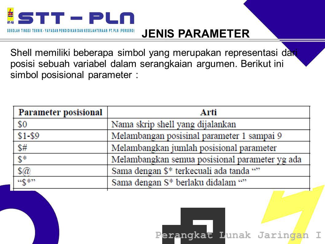 Perangkat Lunak Jaringan I JENIS PARAMETER Shell memiliki beberapa simbol yang merupakan representasi dari posisi sebuah variabel dalam serangkaian argumen.