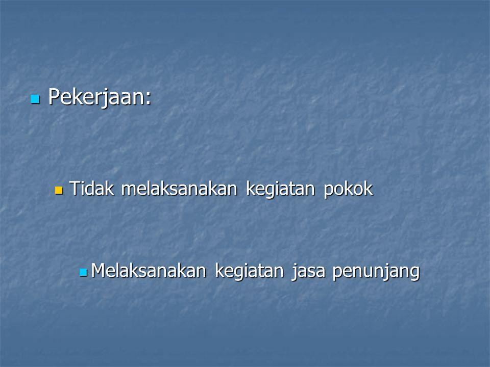  Pekerjaan:  Tidak melaksanakan kegiatan pokok  Melaksanakan kegiatan jasa penunjang