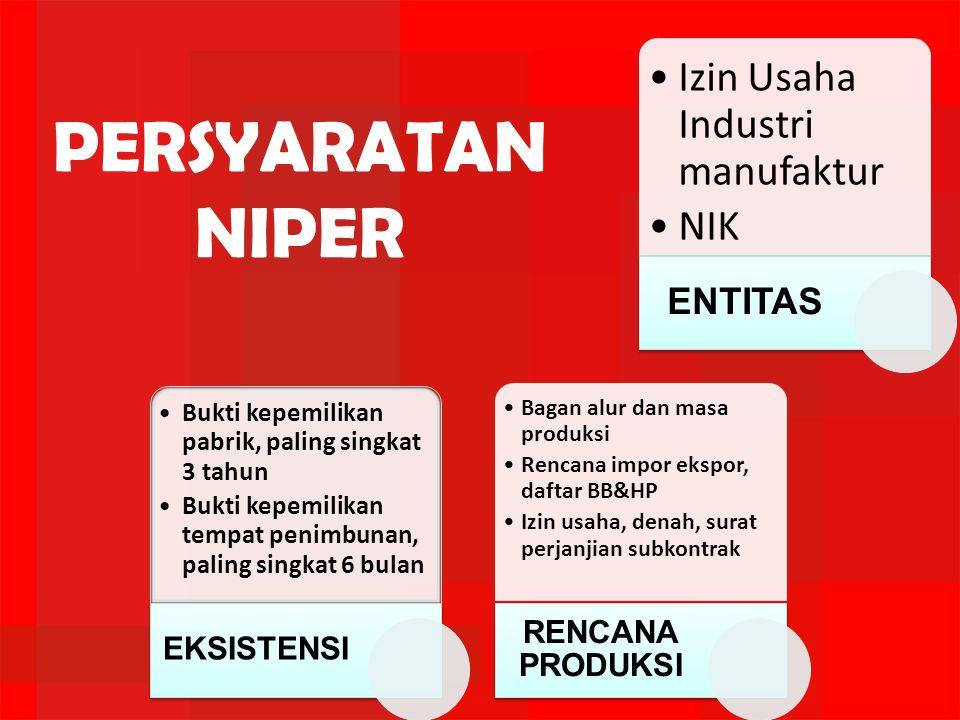 •Izin Usaha Industri manufaktur •NIK ENTITAS •Bukti kepemilikan pabrik, paling singkat 3 tahun •Bukti kepemilikan tempat penimbunan, paling singkat 6