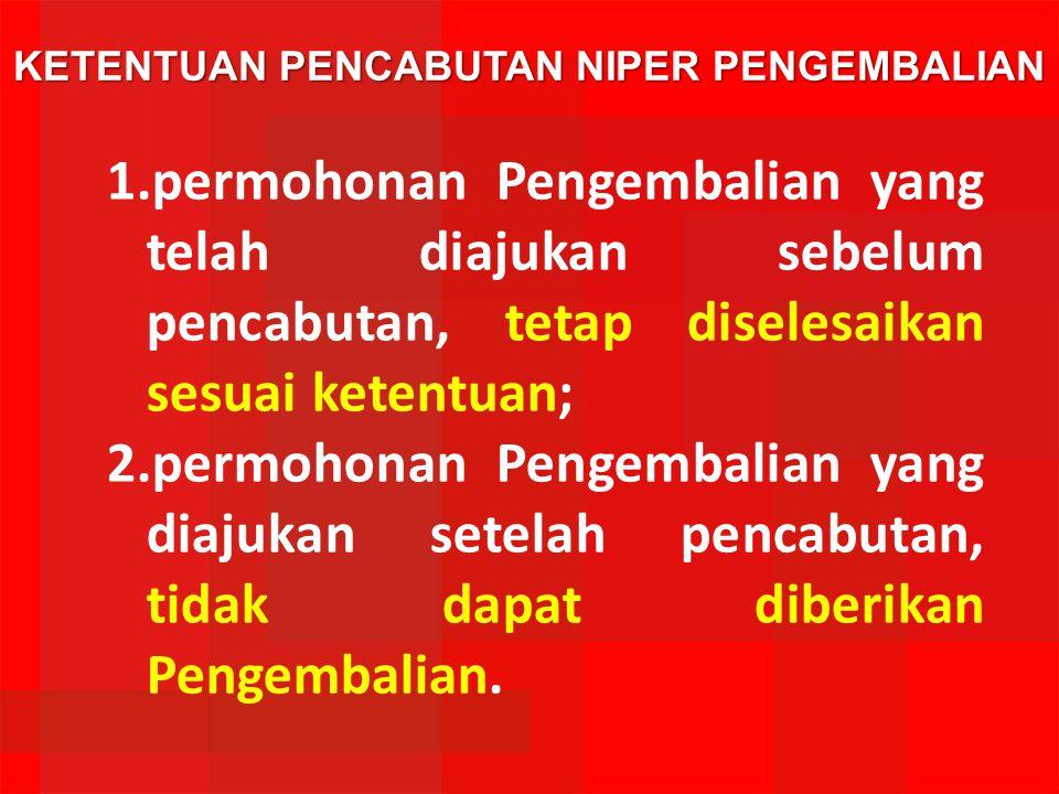 KETENTUAN PENCABUTAN NIPER PENGEMBALIAN 1.permohonan Pengembalian yang telah diajukan sebelum pencabutan, tetap diselesaikan sesuai ketentuan; 2.permo