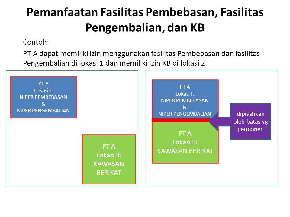 Pemanfaatan Fasilitas Pembebasan, Fasilitas Pengembalian, dan KB Contoh: PT A dapat memiliki izin menggunakan fasilitas Pembebasan dan fasilitas Penge