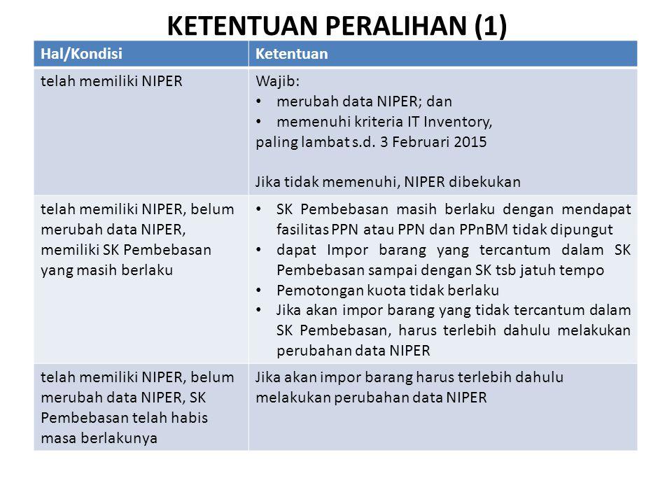 KETENTUAN PERALIHAN (1) Hal/KondisiKetentuan telah memiliki NIPERWajib: • merubah data NIPER; dan • memenuhi kriteria IT Inventory, paling lambat s.d.
