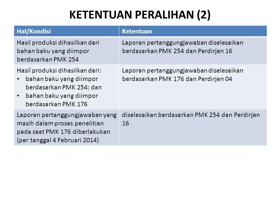 KETENTUAN PERALIHAN (2) Hal/KondisiKetentuan Hasil produksi dihasilkan dari bahan baku yang diimpor berdasarkan PMK 254 Laporan pertanggungjawaban dis