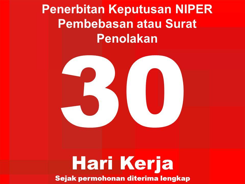 30 Hari Kerja Sejak permohonan diterima lengkap Penerbitan Keputusan NIPER Pembebasan atau Surat Penolakan