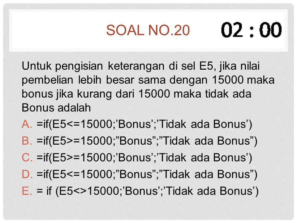 SOAL NO.20 Untuk pengisian keterangan di sel E5, jika nilai pembelian lebih besar sama dengan 15000 maka bonus jika kurang dari 15000 maka tidak ada B