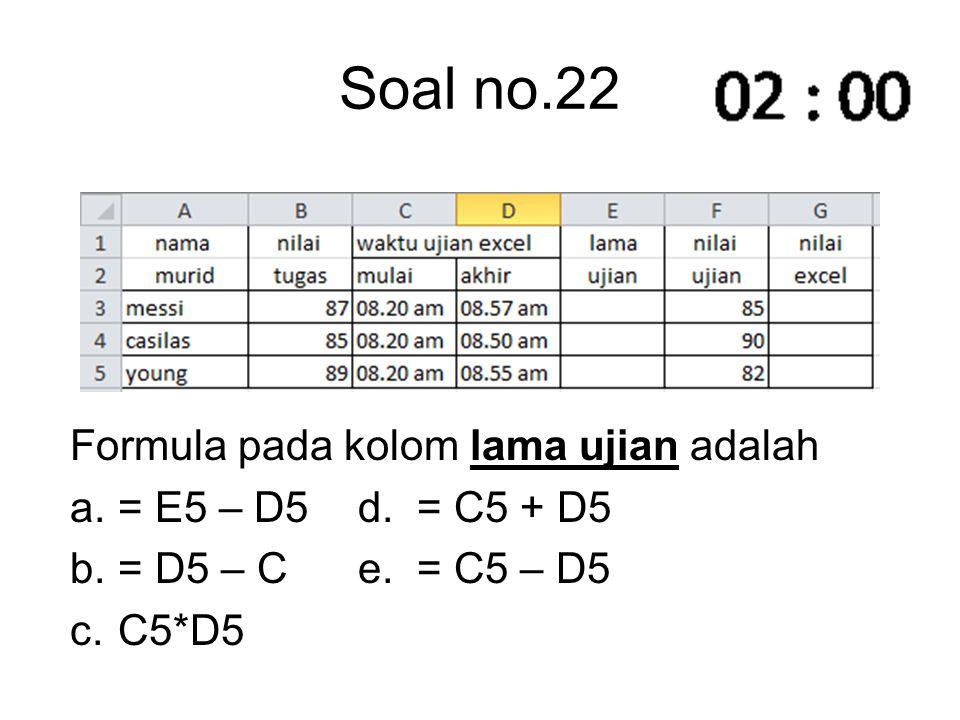 Soal no.22 Formula pada kolom lama ujian adalah a.= E5 – D5 d. = C5 + D5 b.= D5 – C e. = C5 – D5 c.C5*D5