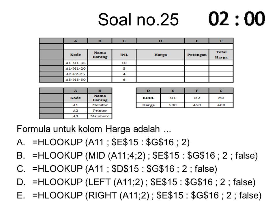 Soal no.25 Formula untuk kolom Harga adalah... A.=HLOOKUP (A11 ; $E$15 : $G$16 ; 2) B.=HLOOKUP (MID (A11;4;2) ; $E$15 : $G$16 ; 2 ; false) C.=HLOOKUP