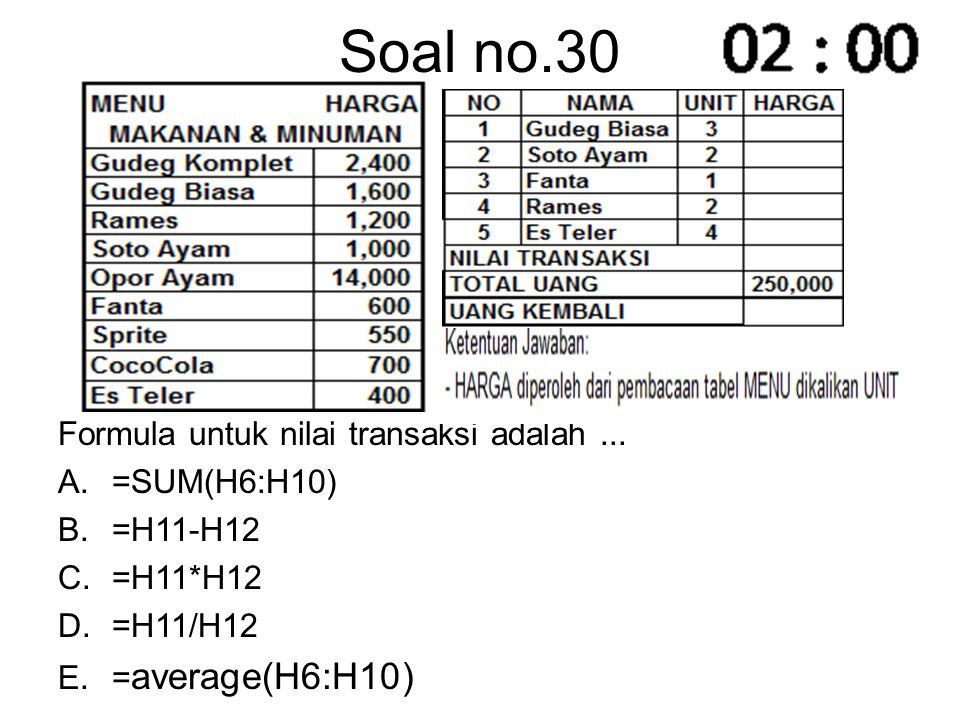 Soal no.30 Formula untuk nilai transaksi adalah... A.=SUM(H6:H10) B.=H11-H12 C.=H11*H12 D.=H11/H12 E.= average(H6:H10)
