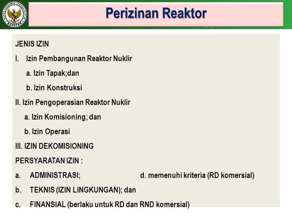 Perizinan Reaktor JENIS IZIN I.Izin Pembangunan Reaktor Nuklir a. Izin Tapak;dan b. Izin Konstruksi II. Izin Pengoperasian Reaktor Nuklir a. Izin Komi