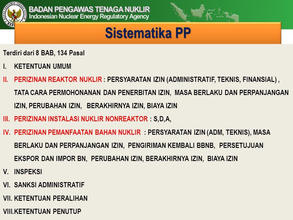 Sistematika PP Terdiri dari 8 BAB, 134 Pasal I.KETENTUAN UMUM II.PERIZINAN REAKTOR NUKLIR : PERSYARATAN IZIN (ADMINISTRATIF, TEKNIS, FINANSIAL), TATA
