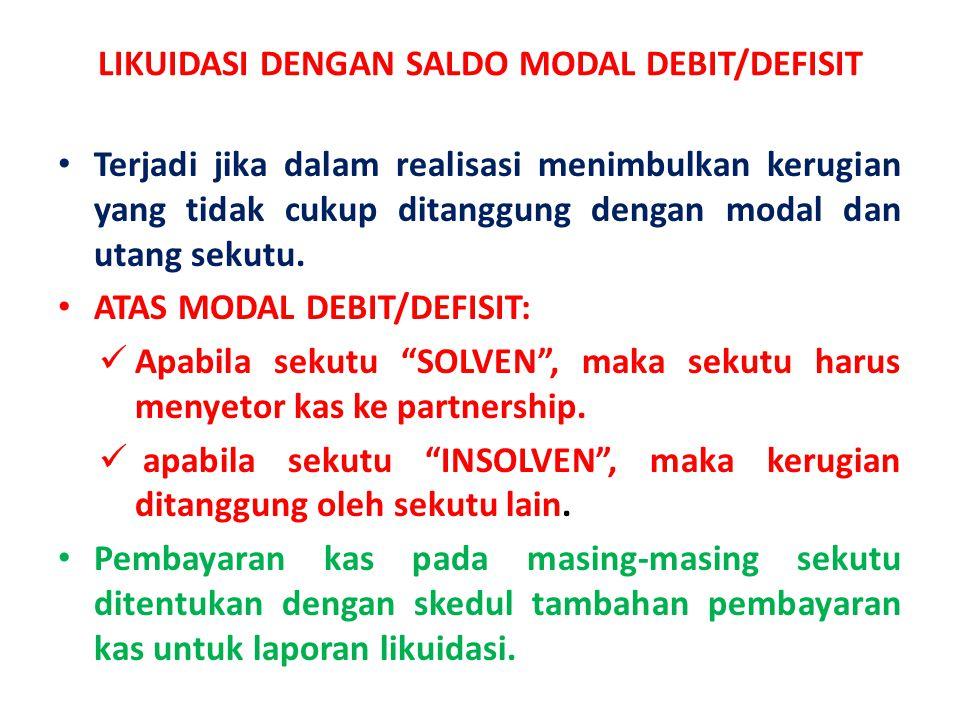 LIKUIDASI DENGAN SALDO MODAL DEBIT/DEFISIT • Terjadi jika dalam realisasi menimbulkan kerugian yang tidak cukup ditanggung dengan modal dan utang seku