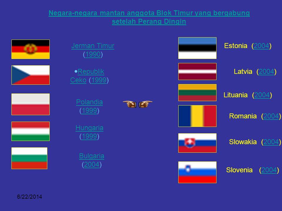 6/22/2014 Perkembangan NATO di Eropa Negara-negara yang bergabung pada masa Perang Dingin Perang Dingin  Yunani (1952) Turki (1952) Jerman 1955 (seba
