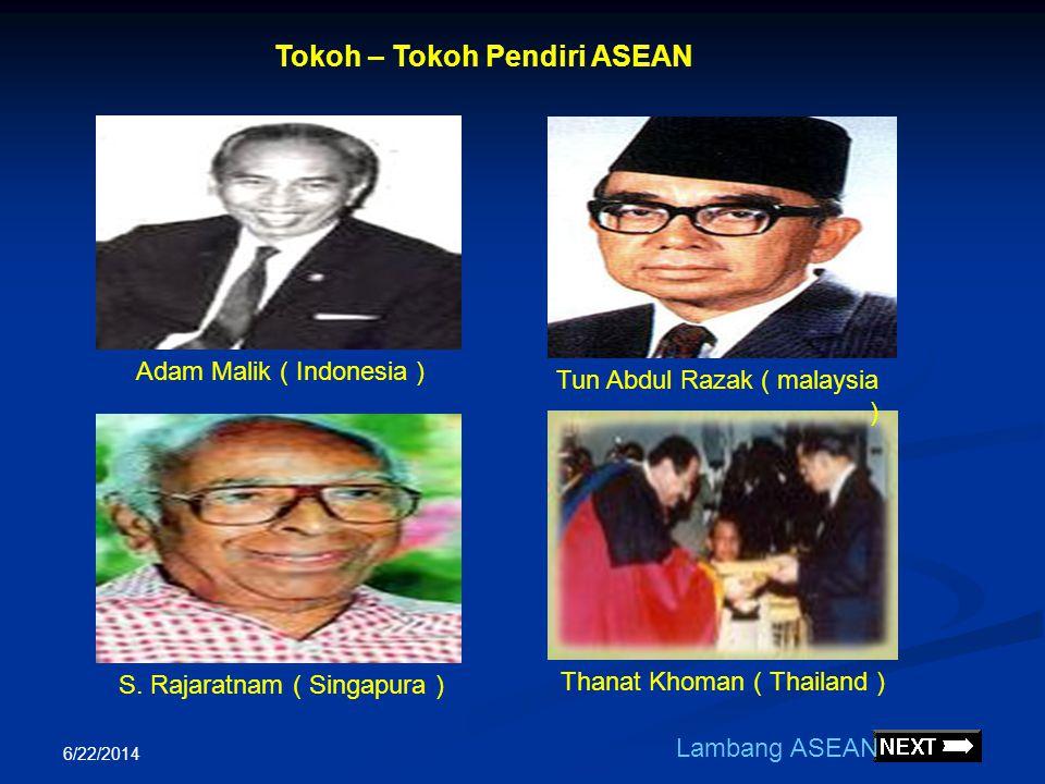 6/22/2014  Didirikan berdasarkan Deklarasi Bangkok 8 Agustus 1967 yang ditandatangani lima menlu antara lain : Adam Malik ( Indonesia ) Tun Abdul Raz