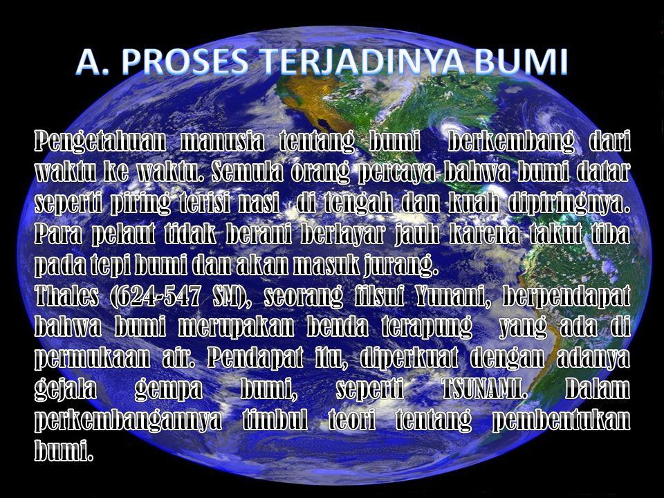 Tujuan Pembelajaran : Setelah mempelajari materi ini, siswa dapat : 1.Mendeskripsikan proses terjadinya bumi 2.Menjelaskan sejarah perkembangan muka b