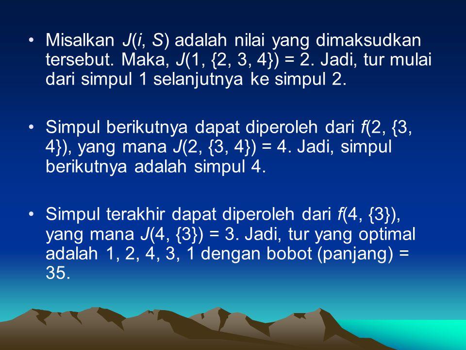 •Misalkan J(i, S) adalah nilai yang dimaksudkan tersebut. Maka, J(1, {2, 3, 4}) = 2. Jadi, tur mulai dari simpul 1 selanjutnya ke simpul 2. •Simpul be