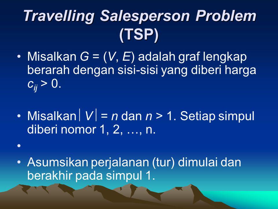Travelling Salesperson Problem (TSP) •Misalkan G = (V, E) adalah graf lengkap berarah dengan sisi-sisi yang diberi harga c ij > 0. •Misalkan  V  = n