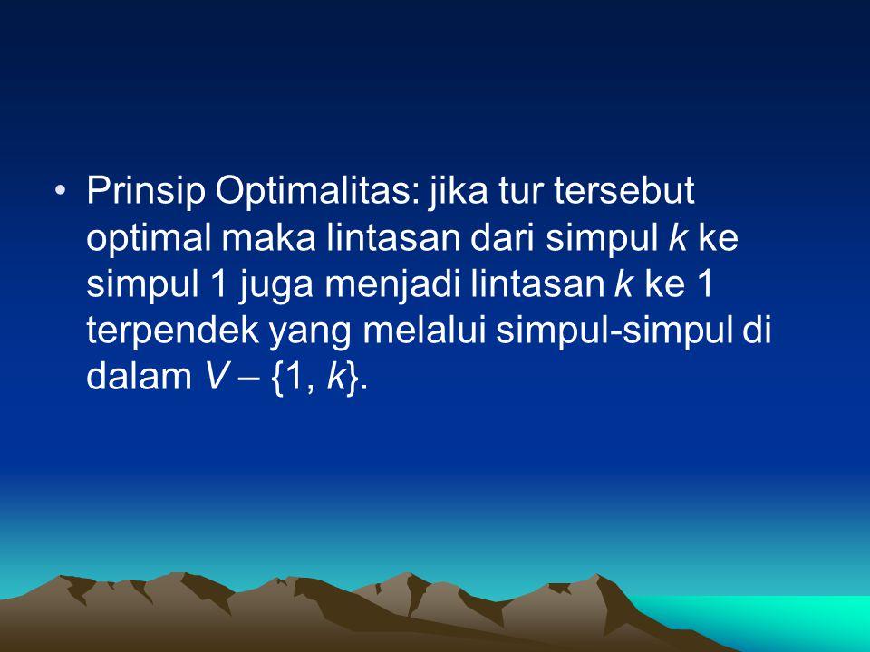 •Prinsip Optimalitas: jika tur tersebut optimal maka lintasan dari simpul k ke simpul 1 juga menjadi lintasan k ke 1 terpendek yang melalui simpul-sim