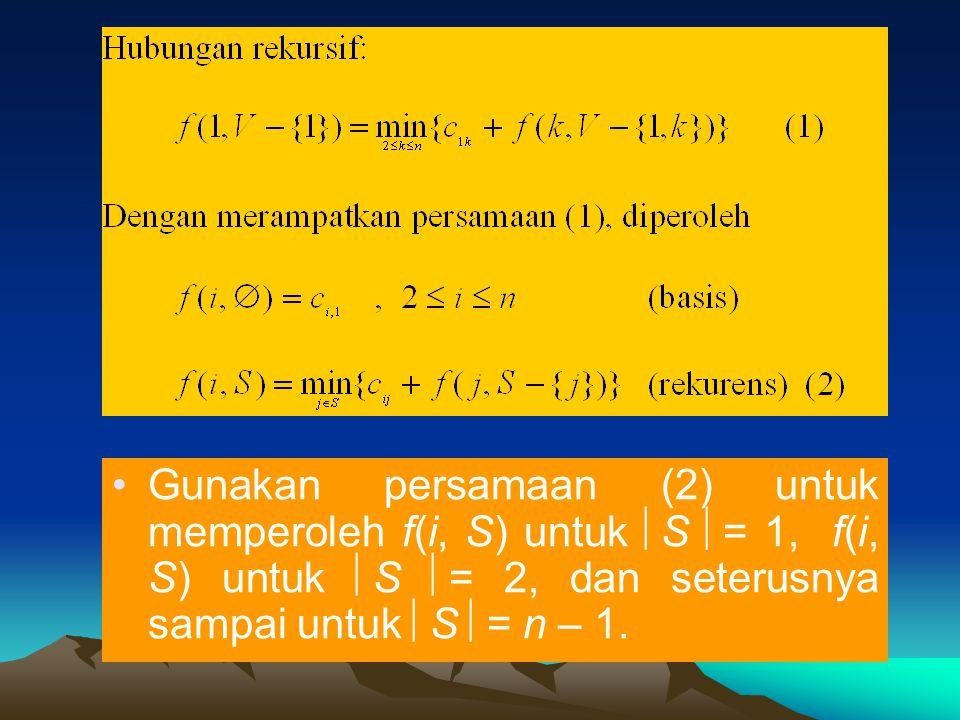 •Gunakan persamaan (2) untuk memperoleh f(i, S) untuk  S  = 1, f(i, S) untuk  S  = 2, dan seterusnya sampai untuk  S  = n – 1.