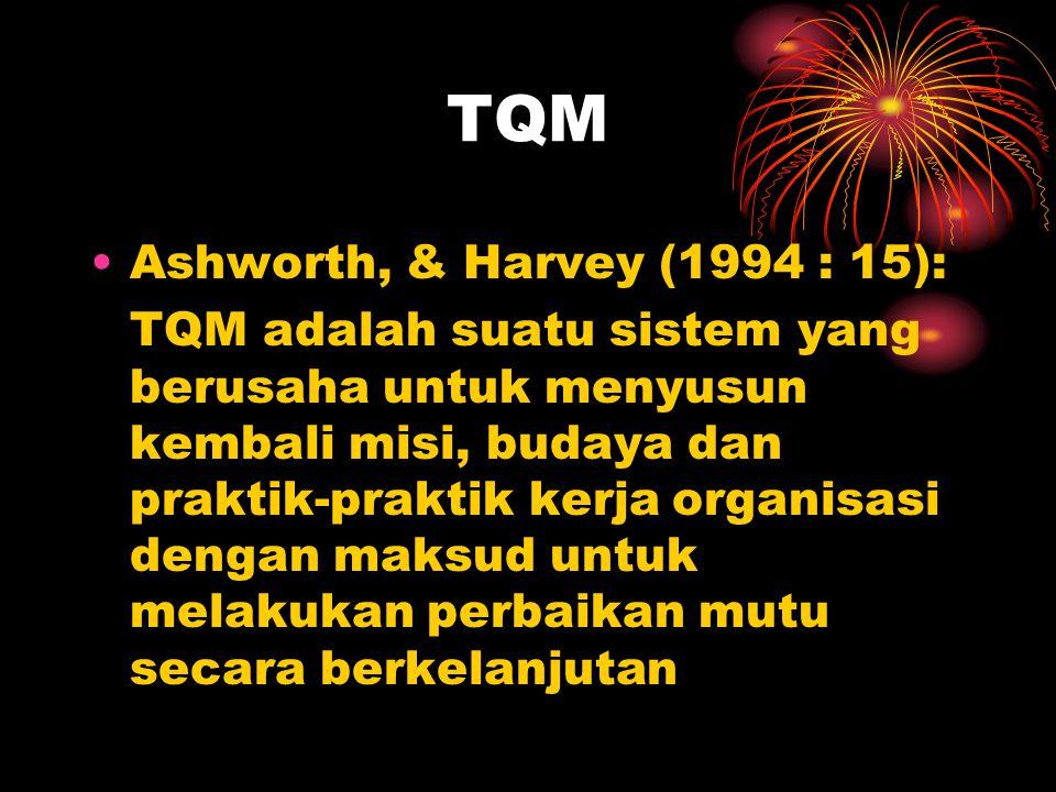 TQM •Ashworth, & Harvey (1994 : 15): TQM adalah suatu sistem yang berusaha untuk menyusun kembali misi, budaya dan praktik-praktik kerja organisasi de