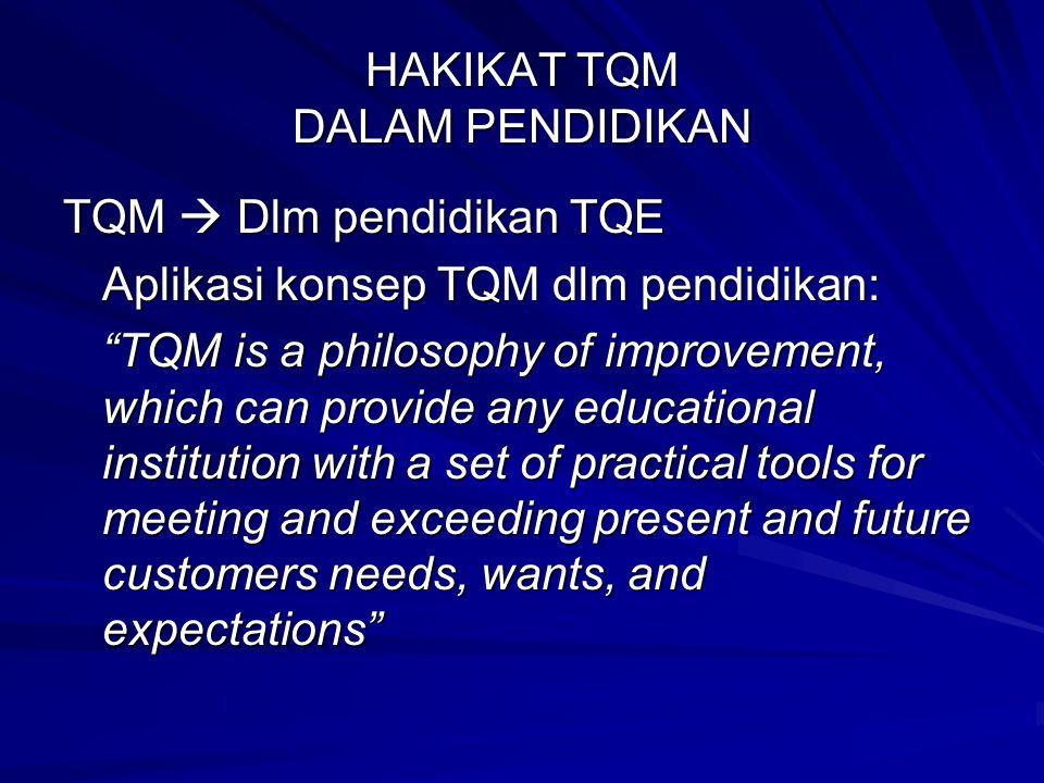 "HAKIKAT TQM DALAM PENDIDIKAN TQM  Dlm pendidikan TQE Aplikasi konsep TQM dlm pendidikan: ""TQM is a philosophy of improvement, which can provide any e"