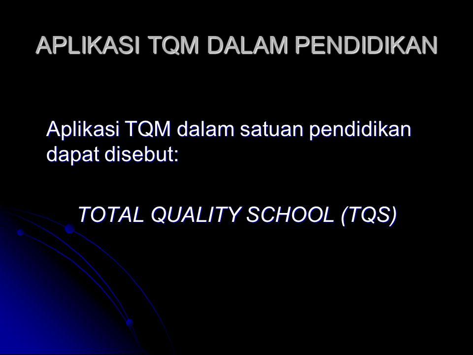 APLIKASI TQM DALAM PENDIDIKAN Aplikasi TQM dalam satuan pendidikan dapat disebut: TOTAL QUALITY SCHOOL (TQS)